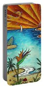 Original Coastal Surfing Whimsical Fun Painting Tropical Serenity By Madart Portable Battery Charger