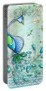 Original Peacock Painting Bird Art By Megan Duncanson Portable Battery Charger