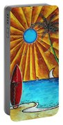 Original Tropical Surfing Whimsical Fun Painting Waiting For The Surf By Madart Portable Battery Charger
