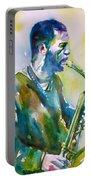 Ornette Coleman - Watercolor Portrait Portable Battery Charger