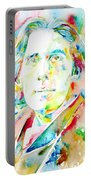 Oscar Wilde Watercolor Portrait.1 Portable Battery Charger
