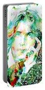 Oscar Wilde Watercolor Portrait.2 Portable Battery Charger by Fabrizio Cassetta