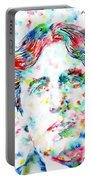 Oscar Wilde With Cigar - Watercolor Portrait Portable Battery Charger by Fabrizio Cassetta