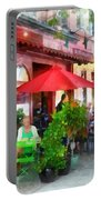 Outdoor Cafe With Red Umbrellas Portable Battery Charger
