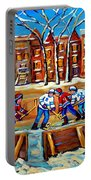Outdoor Hockey Rink Winter Landscape Canadian Art Montreal Scenes Carole Spandau Portable Battery Charger