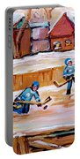 Outdoor Rink Hockey Game In The Village Hockey Art Canadian Landscape Scenes Carole Spandau Portable Battery Charger