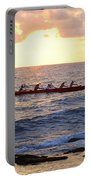 Outrigger Canoe At Sunset In Kailua Kona Portable Battery Charger