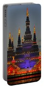 Pagoda Lantern Made With Porcelain Dinnerware At Sunset Portable Battery Charger