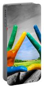 Painted Colorful Hands Showing Way To Colorful Happy Life Portable Battery Charger