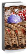 painted Easter Eggs in wicker basket Portable Battery Charger