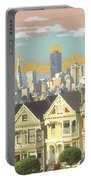 San Francisco Alamo Square - Watercolor Illustration Portable Battery Charger