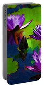 Painted Purple Water Lilies Portable Battery Charger
