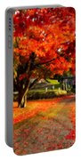 Painterly Autumn Path Portable Battery Charger