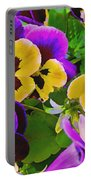 Painterly Purple Pansy Portable Battery Charger