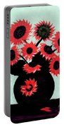 Painterly Red Sunflowers With Purple Portable Battery Charger