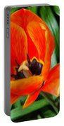 Painterly Red Tulips Portable Battery Charger