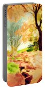 Painting Of Autumn Fall Landscape In Park Portable Battery Charger