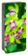 Painting Of Green Orchids Portable Battery Charger