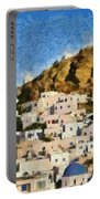 Painting Of Ios Town Portable Battery Charger