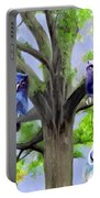 Painting Of Owls And Birds Nest In Tree Portable Battery Charger