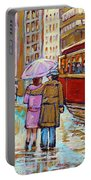 Paintings Of Fifties Montreal-downtown Streetcar-vintage Montreal Scene Portable Battery Charger