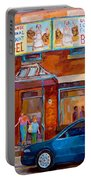 Paintings Of Montreal Fairmount Bagel Shop Portable Battery Charger by Carole Spandau