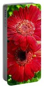 Pair Of Red Gerber Daisy Flowers With Ladybug Portable Battery Charger