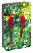 Pair Of Scarlet Macaws Portable Battery Charger