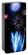 Pale Blue And Red Fireworks Portable Battery Charger