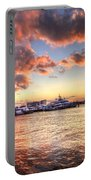 Palm Beach Harbor With West Palm Beach Skyline Portable Battery Charger by Debra and Dave Vanderlaan