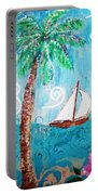 Palm Tree And Sailboat By Jan Marvin Portable Battery Charger
