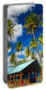 Palm Trees And Colorful Building Portable Battery Charger