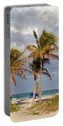 Palm Trees At The Beach Portable Battery Charger