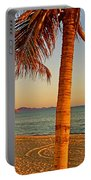 Palm Trees By A Restaurant On The Beach In Bahia Kino-sonora-mexico Portable Battery Charger