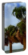 Palm Trees In The Wind Portable Battery Charger