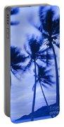 Palms In Storm Wind-bora Bora Tahiti Portable Battery Charger