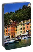 Panorama Of Portofino Harbour Italian Riviera Portable Battery Charger
