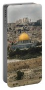 Panorama Of The Temple Mount Including Al-aqsa Mosque And Dome Portable Battery Charger
