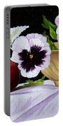 Pansies In Bowl Portable Battery Charger