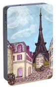 Paris Eiffel Tower Inspired Impressionist Landscape Portable Battery Charger