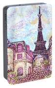 Paris Eiffel Tower Skyline Inspired Pointillist Landscape Portable Battery Charger