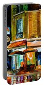 Paris-recruitement Cafe - Palette Knife Oil Painting On Canvas By Leonid Afremov Portable Battery Charger