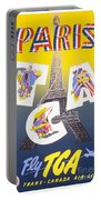 Paris Vintage Travel Poster Portable Battery Charger