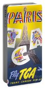 Paris Vintage Travel Poster Portable Battery Charger