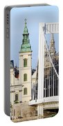 Parish Church And Elizabeth Bridge In Budapest Portable Battery Charger