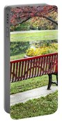 Park Bench By The Pond Portable Battery Charger