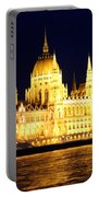 Parliament Building At Night In Budapest Portable Battery Charger