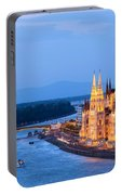 Parliament Building In Budapest At Evening Portable Battery Charger