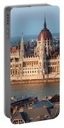 Parliament Building In Budapest At Sunset Portable Battery Charger