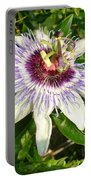 Passiflora Close Up With Garden Background  Portable Battery Charger